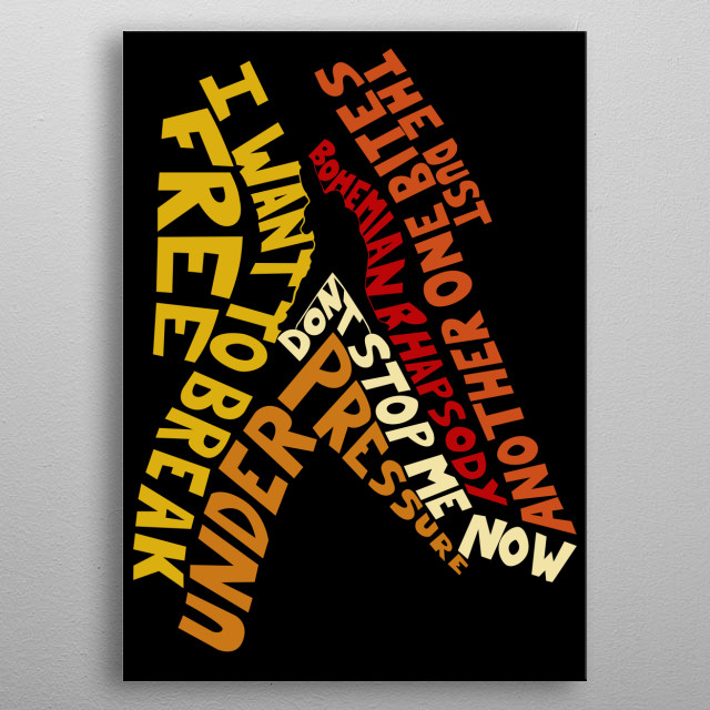 Top Songs of queen wrapped around the silhouette of Freddy Mercury metal poster