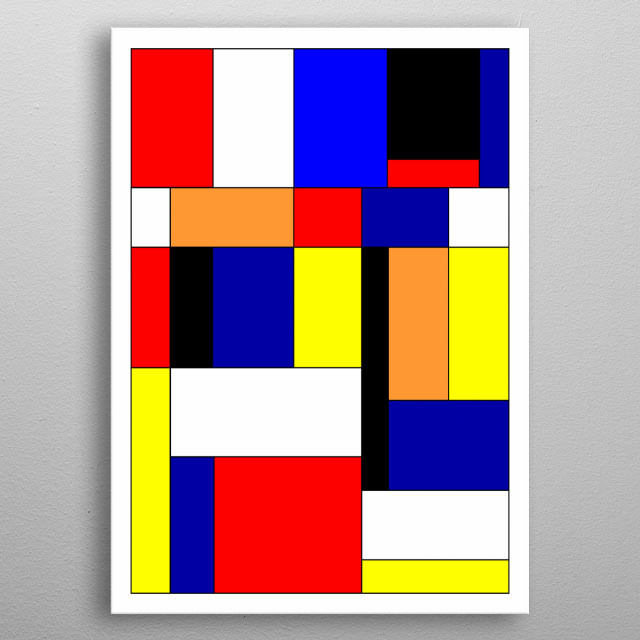 Abstract geometric design inspired by the work of Piet Mondrian. metal poster