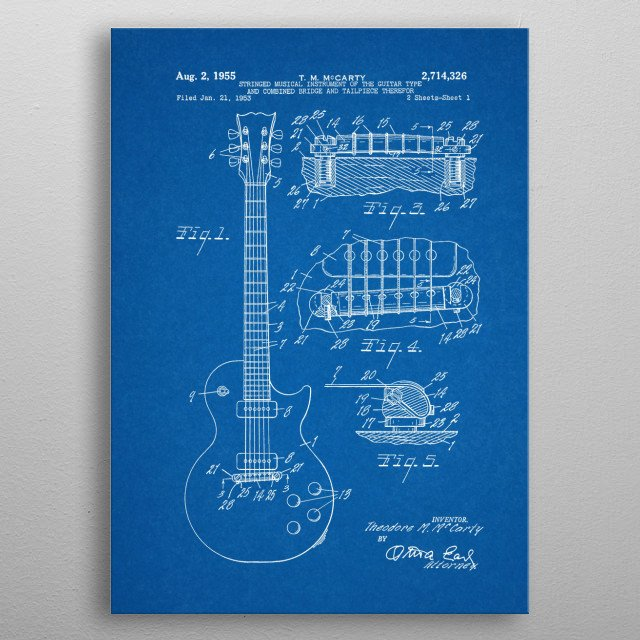 1953 Stringed Musical Instrument Of The Guitar Type and Combined Bridge and Tailpiece Therefor - Patent Drawing metal poster