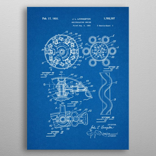1929 Reciprocating Engine - Patent Drawing metal poster