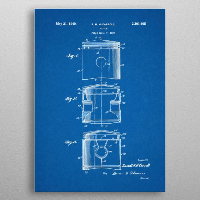 1939 Piston - Patent Drawing metal poster