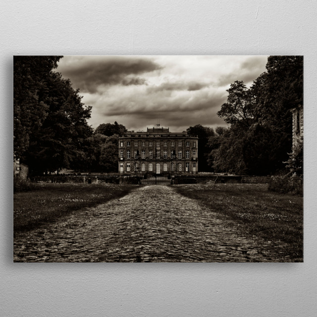 monochrome photography in black and white  of French mansion metal poster