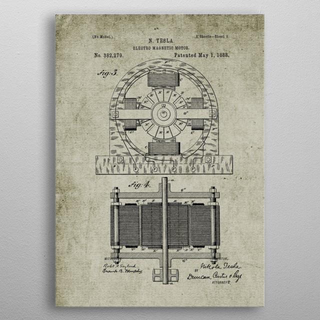 1888 Tesla Electro Magnetic Motor - Patent Drawing metal poster
