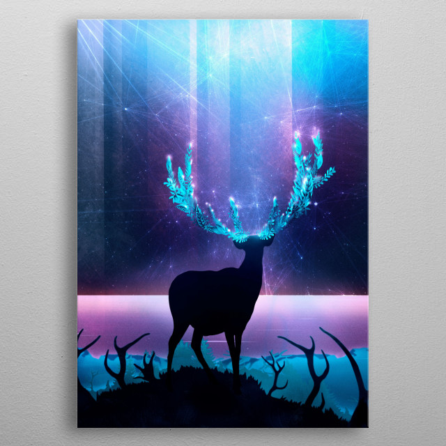 A glowing deer is looking up to a celestial sky, enjoying the enchanted and mystical landscape. The epic light turns into a beautiful aesthetic fantasy art. This pop surrealism illustration shows a reindeer silhouette, the antlers consist of flowers. metal poster