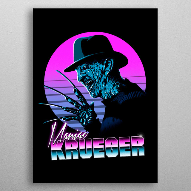Freddy in 80s style metal poster