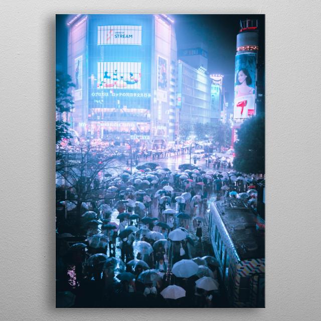 Neon Tokyo metal poster