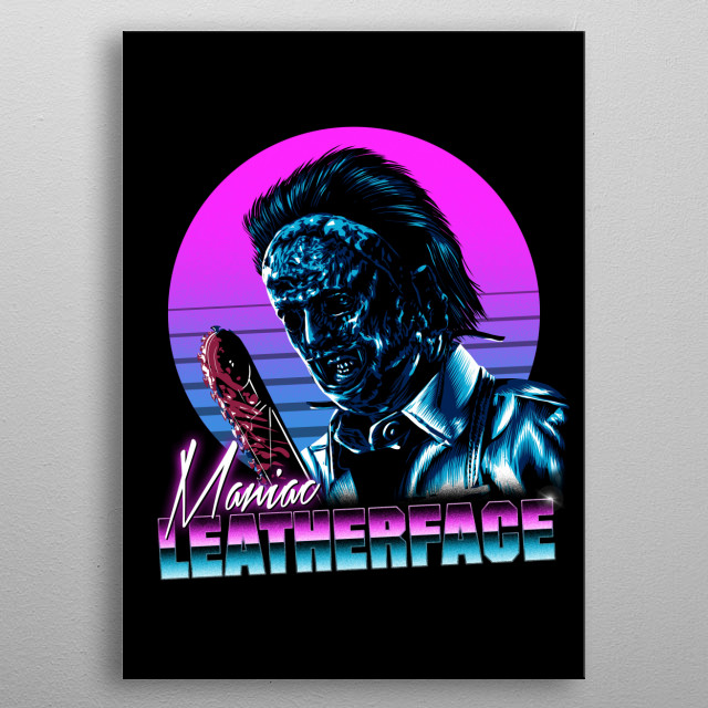 Leatherface in 80's style metal poster
