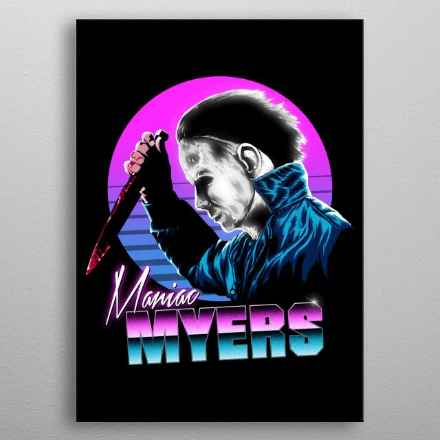 Myers in 80s style metal poster