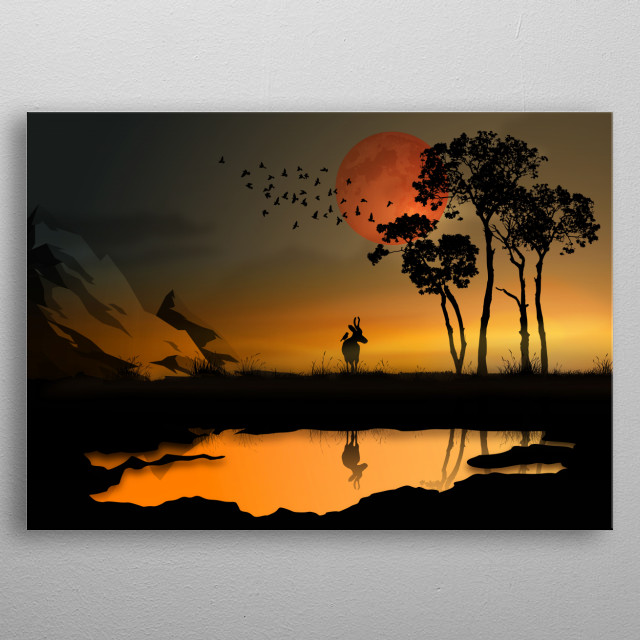 abstract sunset, with red moon, birds and mountain, reflection of colorful sunset sky in calm water, trees metal poster