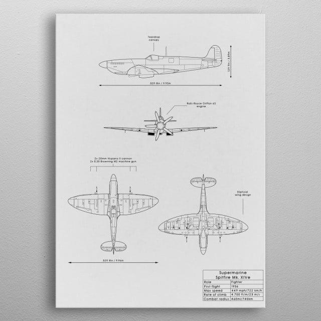 Spitfire Mk XIV metal poster
