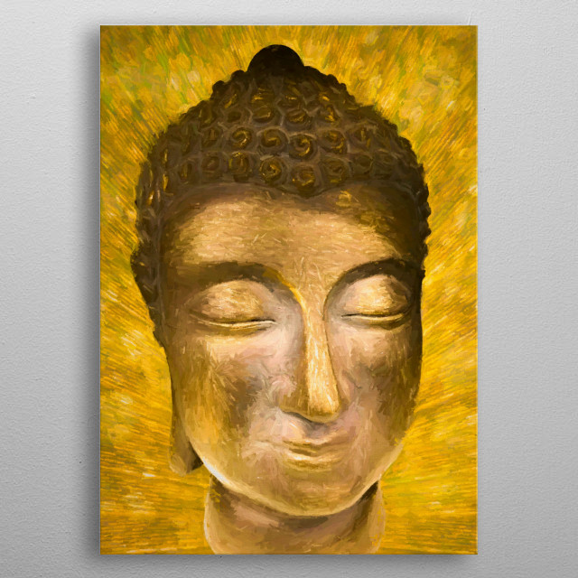 Gold Buddha Head. Also available in silver/grey. For contact and inquiries, please go to  Open for suggestions and requests. metal poster