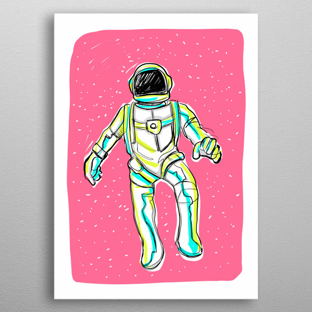 Astronaut and pink metal poster