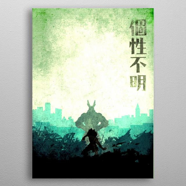 Izuku The Hero with kanji Izuku Midoriya metal poster