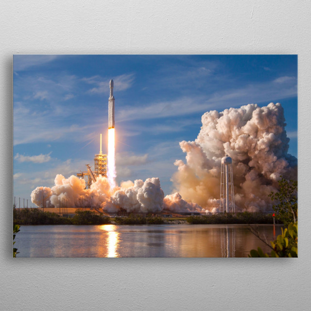 Elon Musk's Falcon Heavy launching into space. metal poster