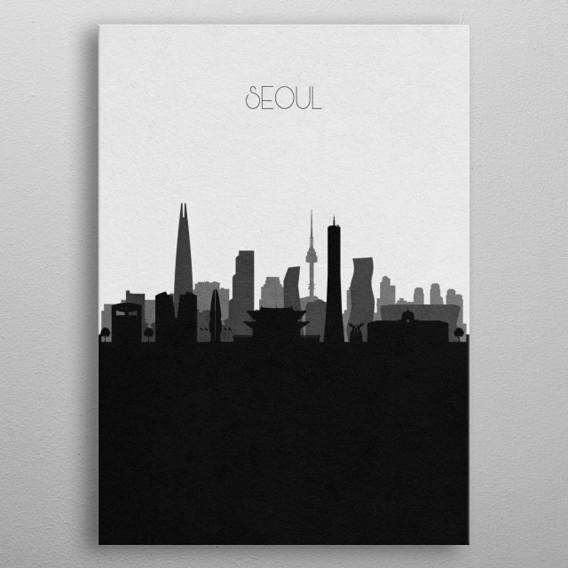 Black and white skyline illustration of Seoul, South Korea. This minimal design features touristic landmarks and monuments of the city. metal poster