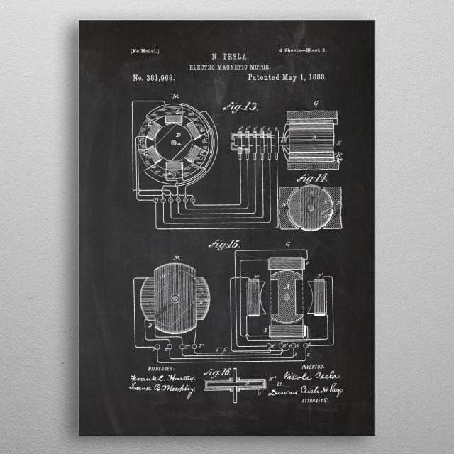 1888 Nikola Tesla - Electro Magnetic Motor - Patent Drawing metal poster