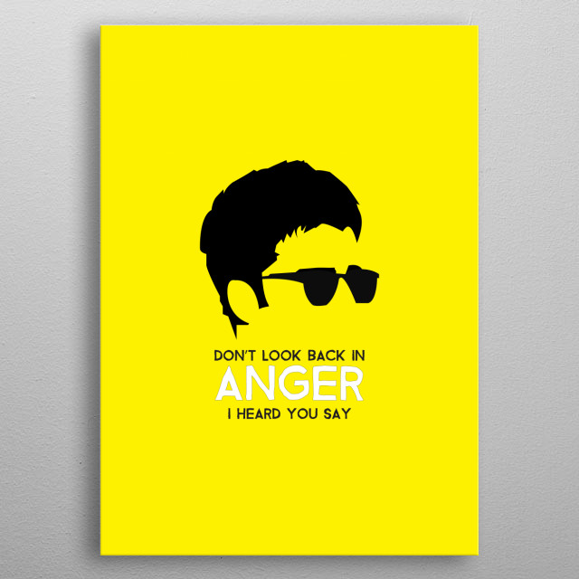 Noel Gallgher - Don't look back in anger on Yellow. Minimalist art of one of the most iconic musicians from England. metal poster