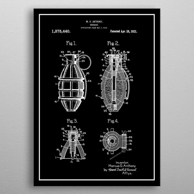 Hand Grenade - Vintage Patent metal poster