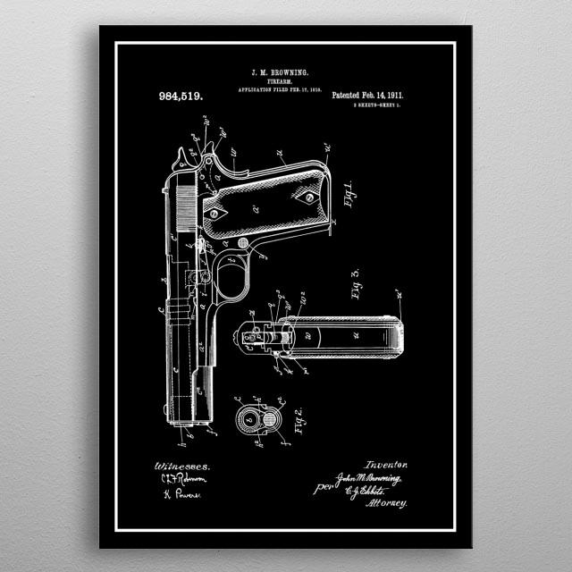 Colt 45 - Vintage Patent metal poster