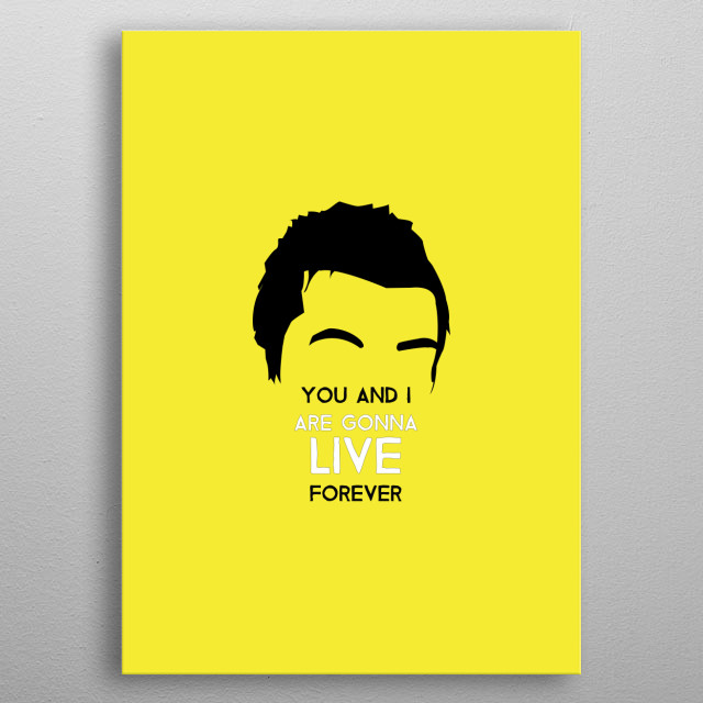 Liam Gallagher - Live Forever on Yellow. Minimalist art of one of the most iconic musicians from England. metal poster