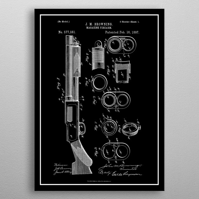 Winchester 1897 - Vintage Patent metal poster