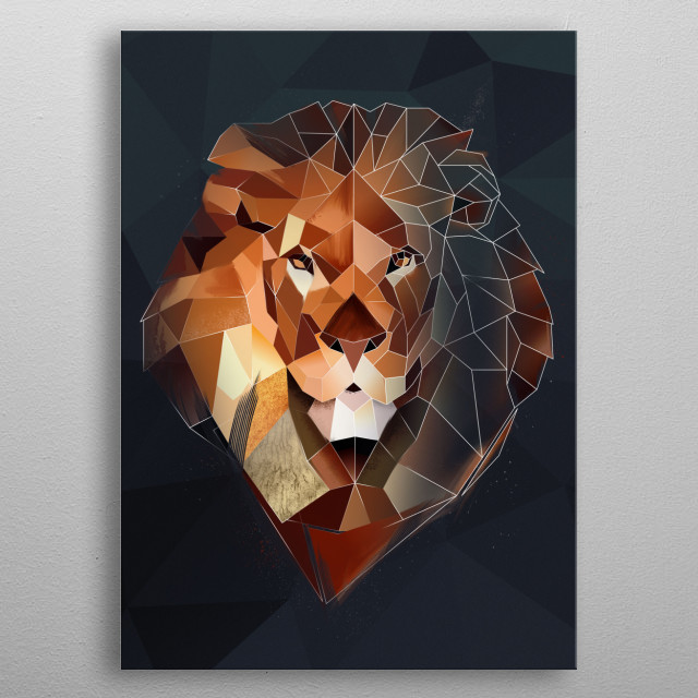 Modern Lion Head metal poster