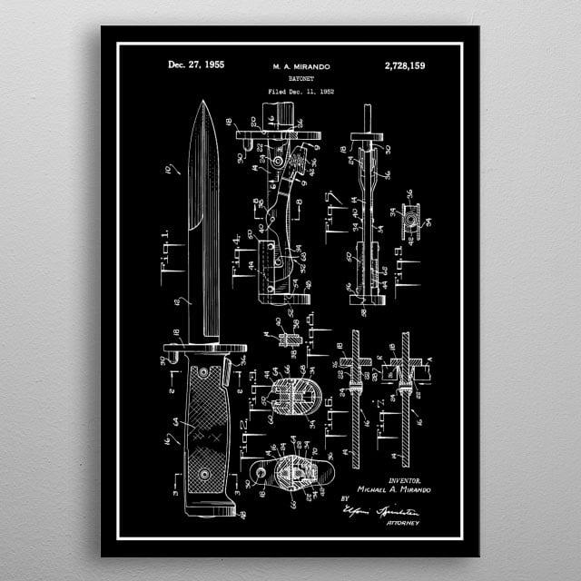 Bayonet - Vintage Patent metal poster
