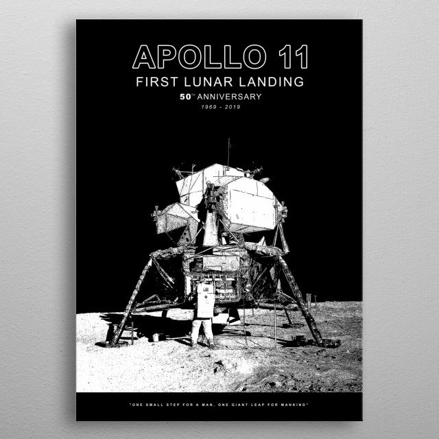 Apollo 11-50th Anniversary 1969-2019,First Lunar Landing,Moon,Space metal poster