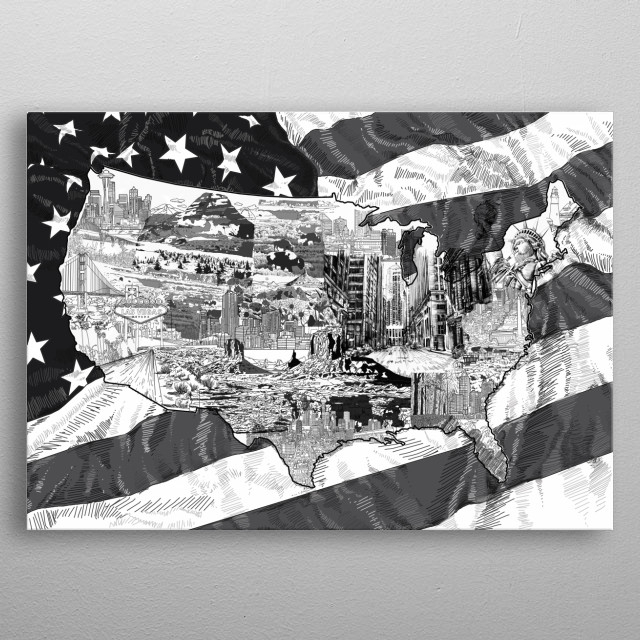 usa map black and white United States Poster Print   metal ...