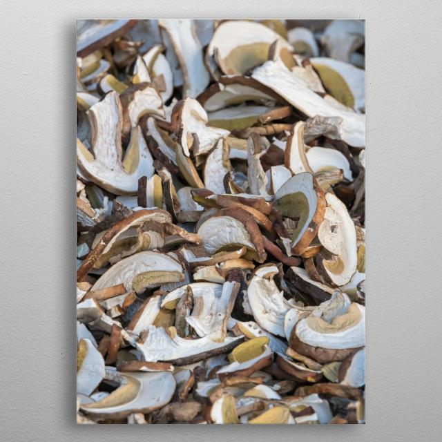fresh mushrooms for tasty recipe metal poster
