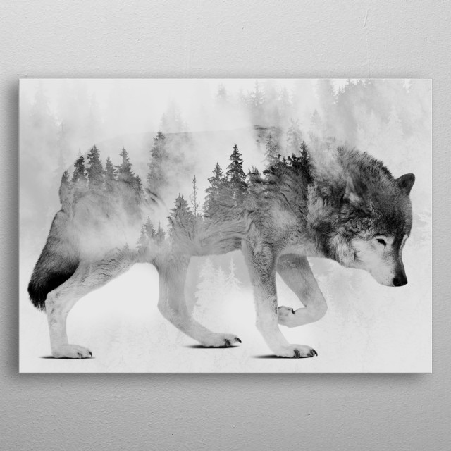 Wolf and Forest 6 metal poster