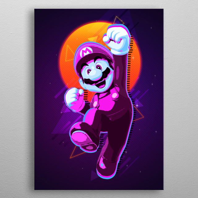 This is a very coloful Poster with the famouse Retro Video Game Character Super Mario on it! Enjoy this beautiful art on your wall. :) metal poster