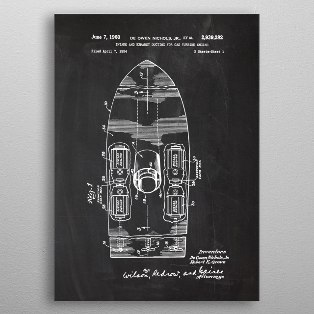 1960 Intake and Exhaust Ducting for Gas Turbine Engine - Patent Drawing metal poster
