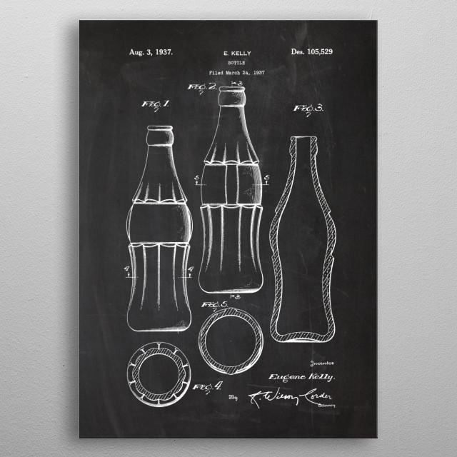 1937 Bottle - Patent Drawing metal poster