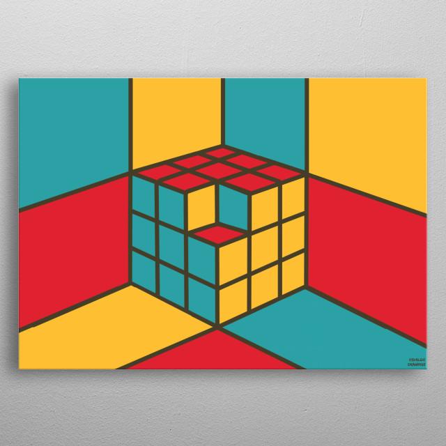A retro cube metal poster