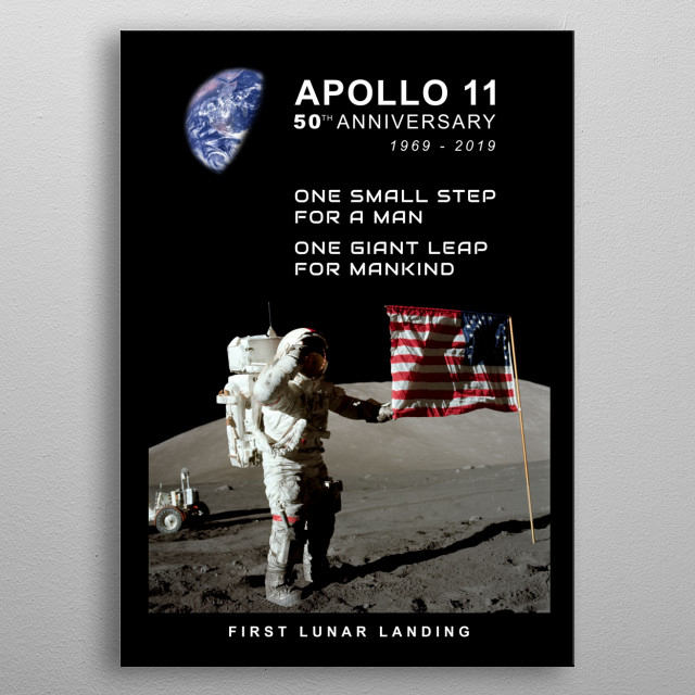 Apollo 11-50th Anniversary-First Lunar Landing,Moon.Space metal poster