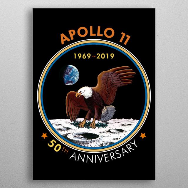 Apollo 11-50th Anniversary,Logo,Lunar Landing,Moon.Space- Color metal poster