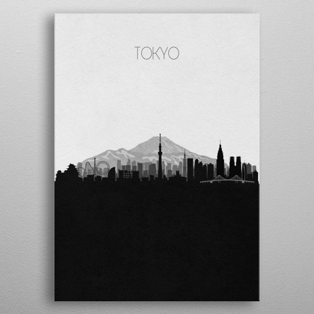 Black and white skyline illustration of Tokyo, Japan. This minimalist design features touristic landmarks and monuments of the city. metal poster