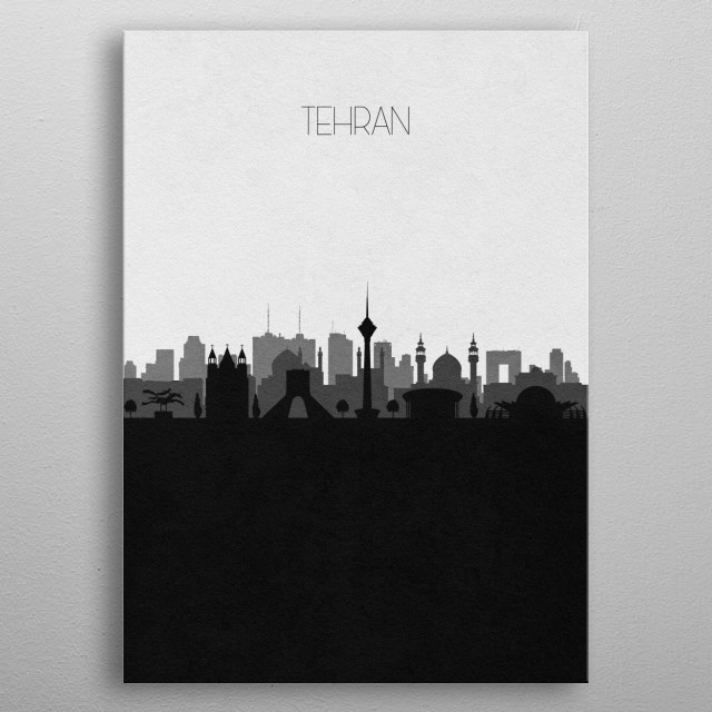 Black and white skyline illustration of Tehran, Iran. This minimal design features touristic landmarks and monuments of the city. metal poster