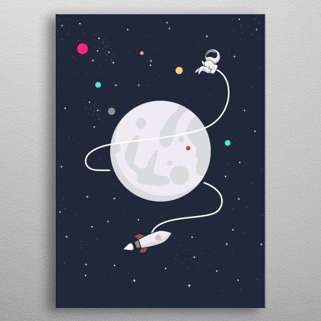 Astronaut Rocket metal poster