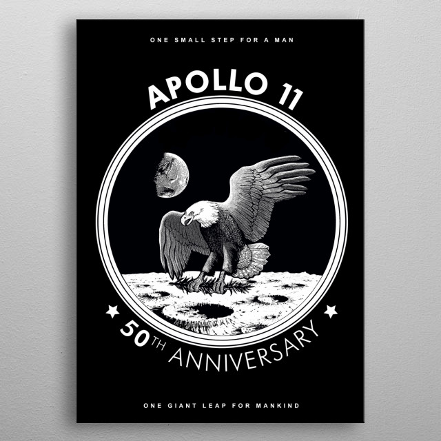 Apollo 11-50th Anniversary,Logo,Lunar Landing,Moon.Space bw metal poster