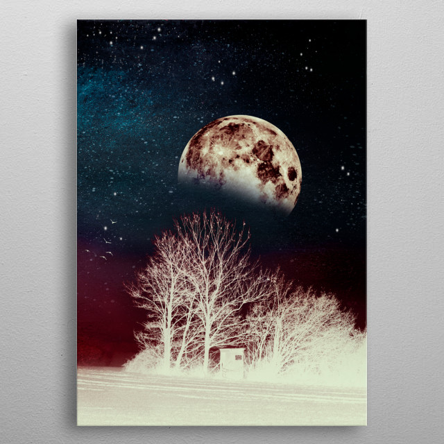 Surreal landscape at night with moon and stars -  IR effects and textures metal poster