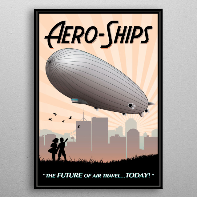 Art Deco era promotion for the modern way to travel via air. They were pretty big on placing things in quotes as well as the word aero- metal poster