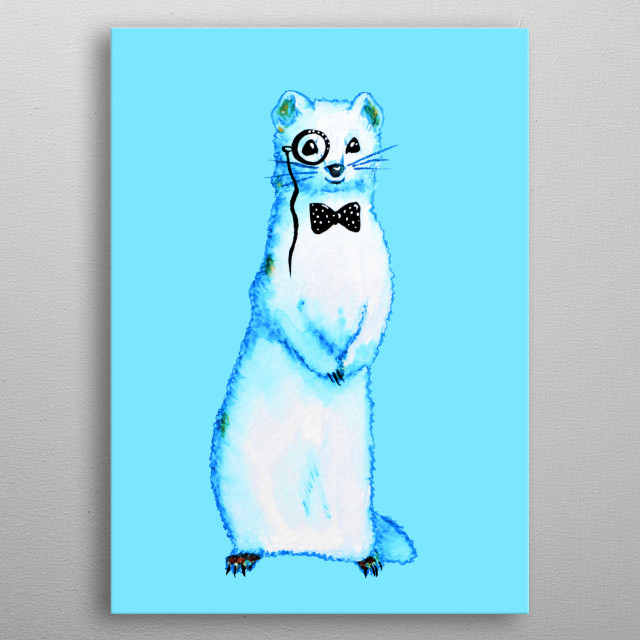White ferret artwork with an ink and watercolor illustration of a cute white ferret who has a bow tie and a monocle. metal poster