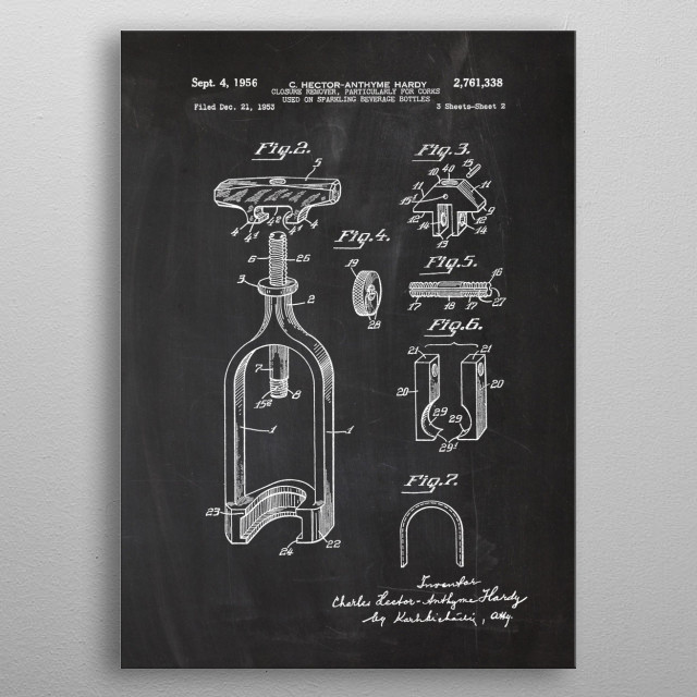1953 Closure Remover, Particularly for Corks used on Sparkling Beverage Bottles - Page 2 - Patent Drawing metal poster