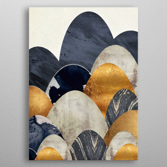 Landscape of abstract hills with gold, blue and grey metal poster