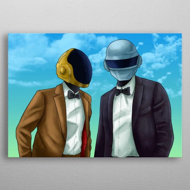 Grand Theft Auto-inspired Daft Punk artwork metal poster