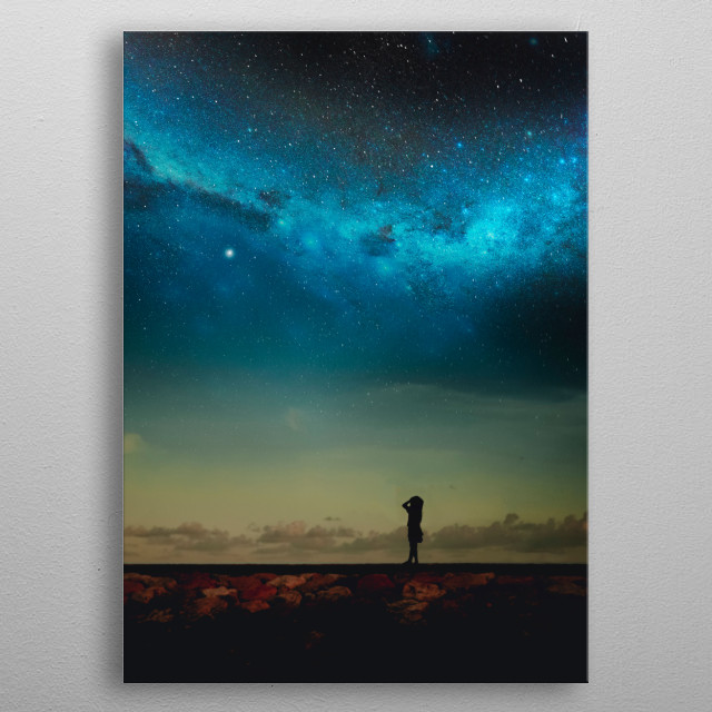 Silhouette of a girl looking at the Milky Way metal poster