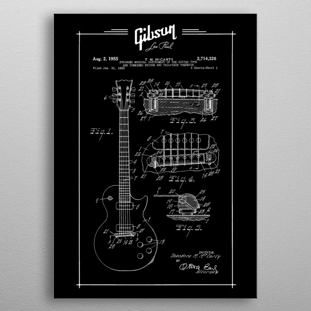 Gibson Les Paul Blueprint - Electric Guitar-Music Rock-Blues metal poster