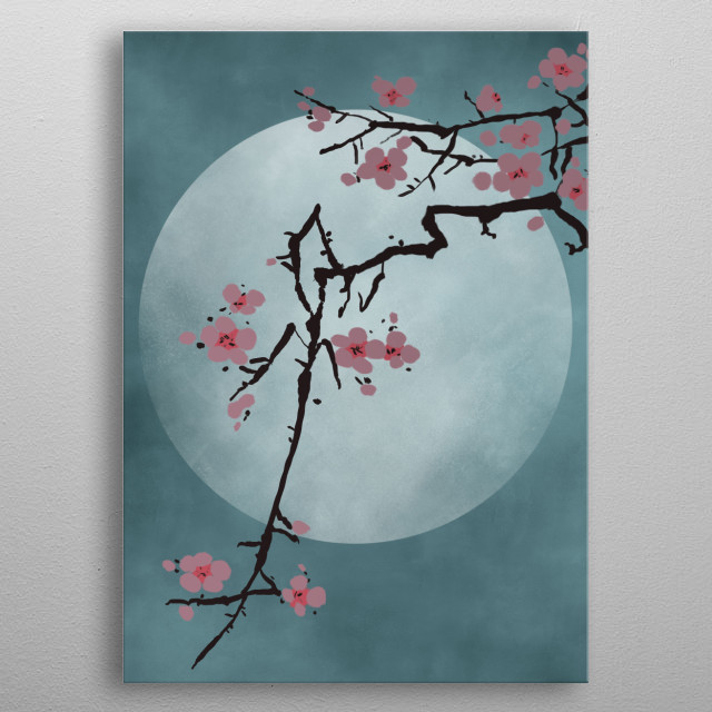 A stylized image of the iconic cherry blossom in front of a full moon. metal poster